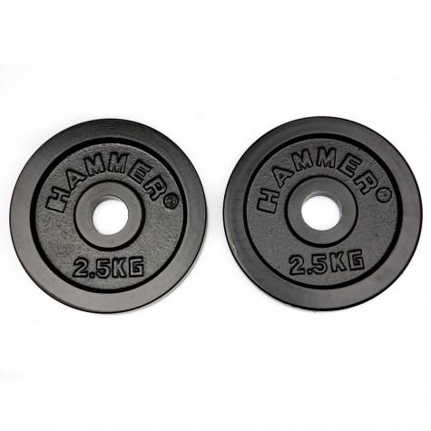 HAMMER Gewichtsscheiben 2x 2,5 kg, schwarz