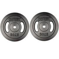 HAMMER Gewichtsscheiben 2x 20 kg, schwarz